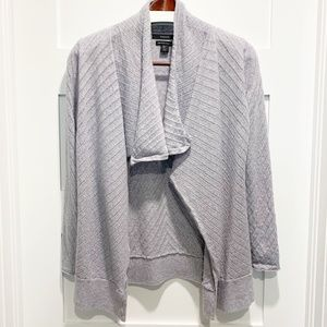 Tahari Large L Gray Merino Wool Waterfall Cardigan